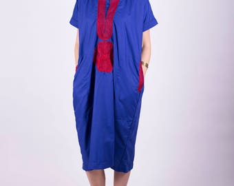 Blue and Red Embroidered Kaftan Midi Dress Middle Eastern Comfy Spring Breathable Folk Hippie Boho Lounge Wear Size: Small Medium