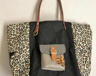 leopard with Pocket, Star, camel brown leather handles and black patchwork tote bag