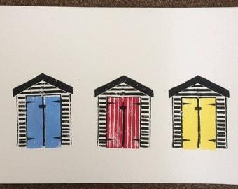 Beach Hut Lino Print (Triple)