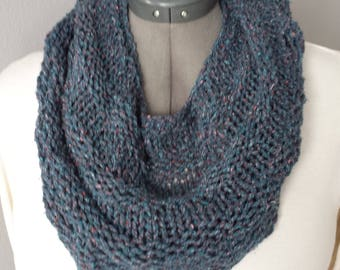Hand Knitted Kerchief Scarf in Blue Tweed