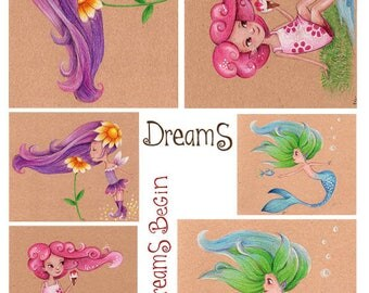 Decoupage Rice Paper Sheets A4 Size Fairies and mermaid, fairytale, dreams