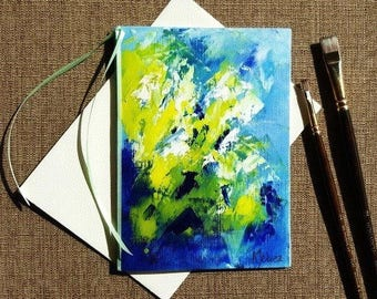 """Colorful birthday card Hand painted card Hand made greeting card Abstract painting card Hand painted greeting card on canvas Blank card 5x7"""""""
