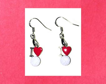 I Love Volleyball Earrings, 925 Sterling Silver Wires