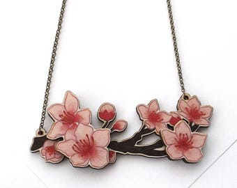 Laser Cut Cherry Blossom Floral Statement Necklace, an illustrated layered wood necklace - Garden Plant Flower Jewellery