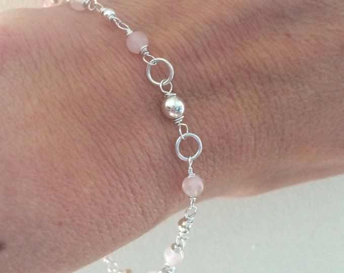 Sterling Silver ROSE QUARTZ Bracelet or anklet - January Birthstone jewelry gift