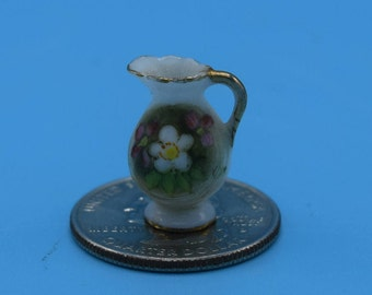 Japan 1:12 Dollhouse Miniature Pitcher Vintage Tiny Ceramic Porcelain Floral Gilded Pitcher Diorama Decor Movie TV Prop Gift for Her