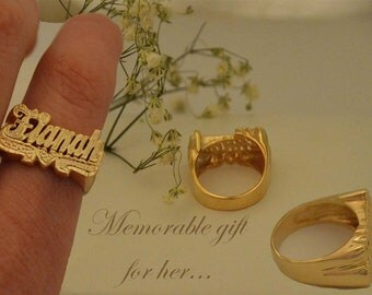 Name ring gold,Script name rings,Knuckle name ring,Word name ring,Couples name rings,Personalized rings,Phrase rings,Name jewelry rings.