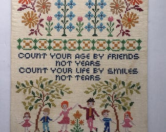 Vintage : UnFramed  Motivational Life Saying / cross stitch Embroidery. Vintage