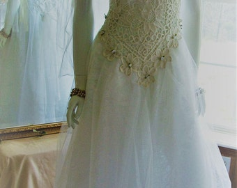 Size 4 - 8. White A line, shabby chic, tattered, etheral angel wedding princess fairy, forest wedding dress