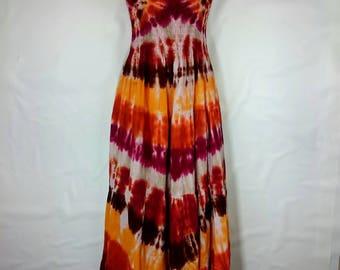 Tie dye dress, Women's dress, Long hippy dress, Women's summer dress, Maxi dress, Festival clothing, Gypsy style dress, Maxi dress UK 16