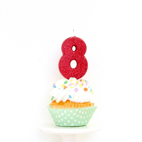 """3"""" Number 8 Candle, Giant 8 Candle, Eight Candle, Red Birthday, Red Party, Red Birthday Candle, Glitter Birthday, Red Candle"""