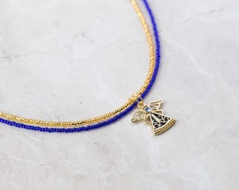 Navy Blue and Gold Angel Necklace