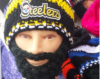 "PITTSBURGH STEELERS Bearded Beanies,Steelerw Large 4"" Embroidered Patch, Hook and Loop Fasteners Both Sides Beard & Beanie 2Remove Beard"