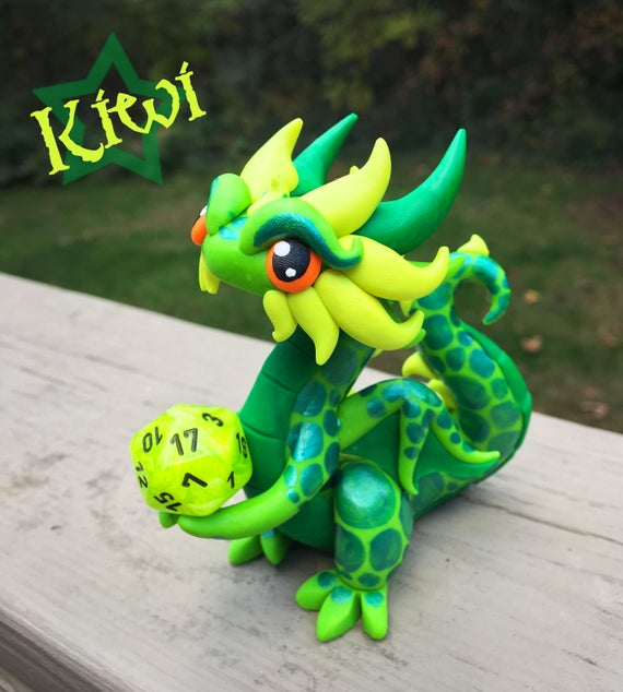 Polymer Clay Dragon Dice Holder- Lime Green, Emerald Green, and Light Yellow Dragonling: Kiwi