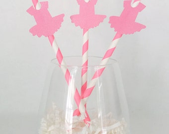 12 Tutu Party Straws - Ballet Party - Ballerina Birthday - Baby Shower - Girl Birthday - Kids Birthday - Pink - Dance