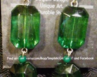 Double Green Faceted Dangle Earrings