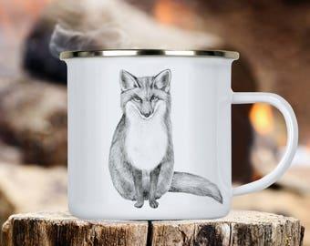 Fox Camp Cup - Illustrated Fox Enamel Mug - Dishwasher Safe