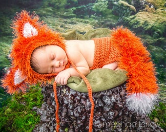 Newborn Picture Outfit - Baby Gift - Woodland Nursery - Gender Neutral Baby Outfit - Newborn Photo Prop - Baby Shower Gift - Baby Fox Outfit