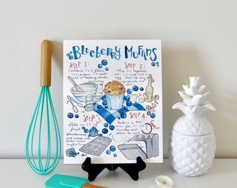 Blueberry Muffin Recipe, Stocking Stuffer, Food Art, Kitchen Decor, Illustrated Recipe, Gifts for Foodies, Recipe Art Print, Kitchen Sign