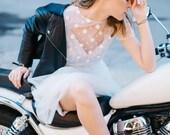 "Set of wedding separates ""Harley"", simple wedding dress, polka dot dress, short sleeve wedding gown, slip dress, a line long tulle skirt"