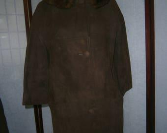 Women's Brown Suede 3/4 Coat with Mink Collar