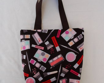 Fabric Gift Bag/ Small Tote/ Hostess Gift Bag/ Makeup Bag- Cosmetics on Black