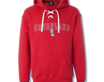 Greenland with Polar Bear Sport Lace Hooded Sweatshirt