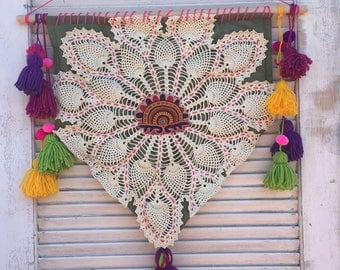 Boho vintage doily banner with tassels and vintage sari applique wall hanging