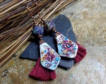Earrings Oriental-ethnic-Bohemian, enameled copper earrings and Lampwork beads, Burgundy and blue tassels, gift.
