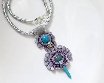 Girlfriend Gifts Large Pendant Necklace Boho Necklace, soutache Necklace Unique Women Jewelry purple jasper Jewelry