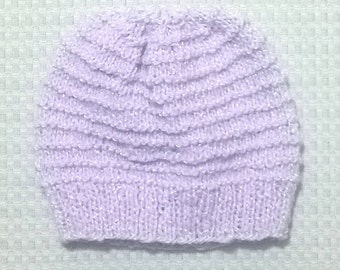 Hand Knit Baby Hat ~ 3-9 Months ~ Purple
