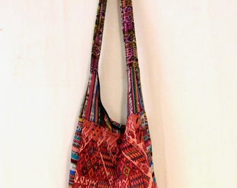 Slouchy tote bag--antique hand woven Guatemalan fabric