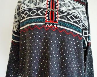 Vintage Norwegian Sweater / Norway wool / Women / Men  / Large / L / 46 - 48 / Nordic / Scandinavian / Pullover / Gray