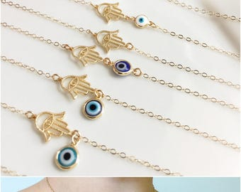 Gold Evil Eye Necklace Delicate Gold Necklace  Lucky Eye Evil Eye Jewelry Gold Evil Eye Bracelet For Her Protection Amulet Dainty Chain
