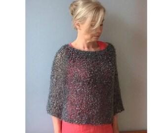 Knit Capelet Poncho Women Knit Mohair Wrap Hand knit cape Knit capelet Mohair capelet Boucle knitwear