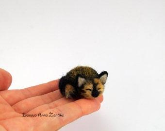 Sleeping tortoiseshell cat needle felted, Little sleeping kitten, miniature animal, miniature cat, cat for dollhouse, sleeping calico cat