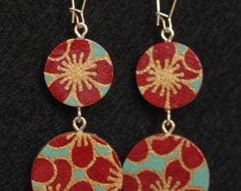 Double-Circle Reversible Floral Handmade Paper Wood Earrings