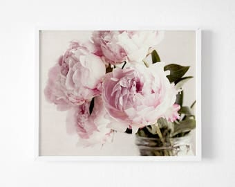 Peony Print, Peony Wall Art, Peony Decor, Peony Print, Cottage Chic Decor, Bedroom Decor, Pink Peony, Flower Photography, Floral Print