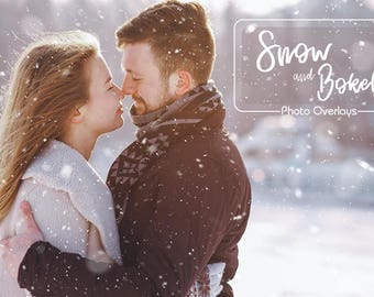 30 Snow and Bokeh Photo Overlays, Realistic snow, PNG files, Snow Textures, Winter overlay, Christmas overlay, Photography Overlay