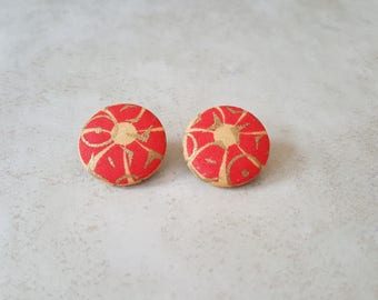Ankara Stud Earrings - Sun Stud Earrings - African Stud Earrings - Cover Button Earrings - African Fabric Stud Earrings - Cultural Studs
