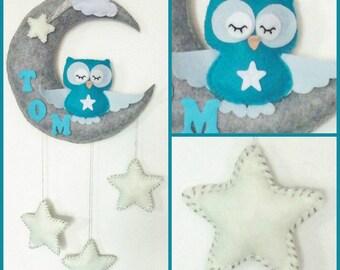 Baby mobile moon - cloud - star - owl . Baby crib mobile owl - nursery customs