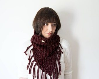Knit Fringe Scarf Chunky Infinity Maroon Red Cowl in *Raisin* - The 'Triangle Fringe' Circle Bandana