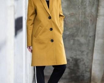 Women's coat, Cotton coat, long coat, jacket, Yellow jacket, viscose, summer coat, spring coat, long mustard coat, minimalist coat, durable
