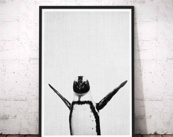 Penguins Print, Penguin Baby shower Gifts, Large Nursery Baby Animal Wall Art Prints, Black and white Animals, Penguin Nursery Animal Decor