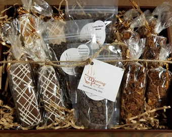 Deluxe Coffee Thank You Gift Basket with Biscotti and Granola Bars, Hostess Gift, Wedding Guest Gift Basket, Office Gift Basket