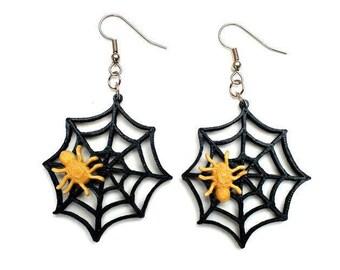 3D Printed Spiderweb Earrings / Spider Earrings / Halloween Earrings