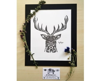 Stag Drawing Fine Art Print - Pen and Ink Stag inspired by Hannibal the TV Series, Traditional Artwork