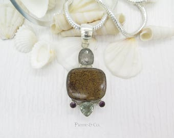 Bronzite and Green Amethyst Sterling Silver Pendant and Chain