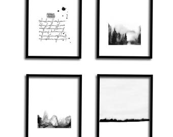 Gallery Wall Set Black and White Wall Art Set of 4 Print Watercolor Set Art Print Set Modern Art Set Abstract Landscape Printable Art Set