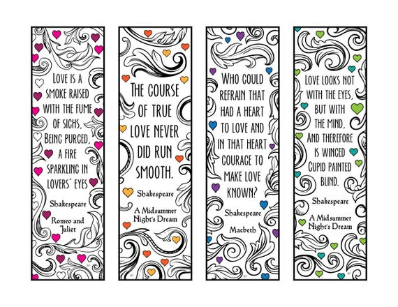 Shakespeare Quotes about Love Bookmarks